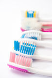 Colourful used toothbrushes Royalty Free Stock Photography