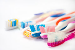 Colourful used toothbrushes Royalty Free Stock Photos