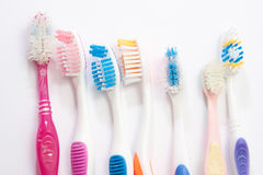 Colourful used toothbrushes Royalty Free Stock Images