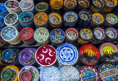 A colourful variety of plates and bowls on display at the Spice Bazaar in Istanbul in Turkey. Royalty Free Stock Images