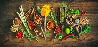 Free Colourful Various Herbs And Spices For Cooking Stock Images - 113654774