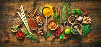 Colourful various herbs and spices for cooking Stock Photography
