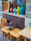 Colourful Vases and Wooden Handicrafts, Greece Royalty Free Stock Photo