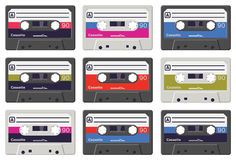 Colourful vector cassette tapes royalty free stock photography