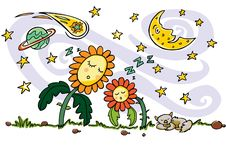 Colourful vector drawing. Cute sleeping sun flowers, cat, crescent moon, planet, comet and shooting stars elements stock illustration