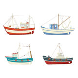 Colourful vector fishing boats Stock Photo