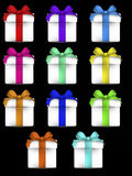 Colourful vector gift boxes with bow Stock Image