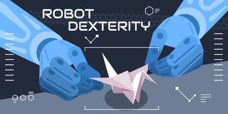 Colourful vector illustration showing robot dexterity, fantasy vector illustration