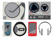 6 colourful vector music players Stock Images