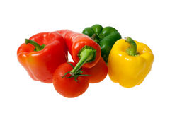 Colourful Vegetables. Colourful Peppers and Tomatoe Isolated on White Stock Image