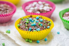 Colourful vertigo muffins different colors Royalty Free Stock Images