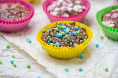 Colourful vertigo muffins different colors Royalty Free Stock Photography