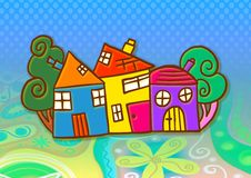Colourful Village Royalty Free Stock Image