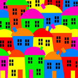 Colourful Village. Simple and colourful clip art of a community of village houses Stock Photos