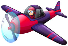 A colourful vintage plane. Illustration of a colourful vintage plane on a white background Stock Photo