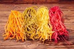 Colourful Włoski makaronu tagliatelle robić od tradycyjnego przepisu Fotografia Stock