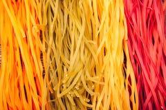 Colourful Włoski makaronu tagliatelle robić od tradycyjnego przepisu Obrazy Stock