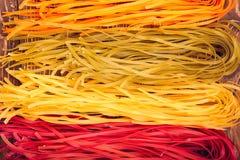 Colourful Włoski makaronu tagliatelle robić od tradycyjnego przepisu Zdjęcia Stock