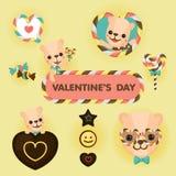 Colourful walentynki ` s dnia kartka z pozdrowieniami z niedźwiedziem, cukierkiem i czekoladą, Obrazy Royalty Free