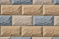Colourful wall covered with  rectagonal tiles Stock Image