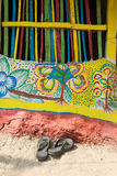 Colourful wall graffiti in Pingla village. PINGLA, WEST BENGAL , INDIA - NOVEMBER 16TH 2014 : Colourful wall graffiti in Pingla village. Colourful handicrafts Stock Images