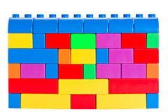 Colourful wall made with toy building bricks Royalty Free Stock Photography