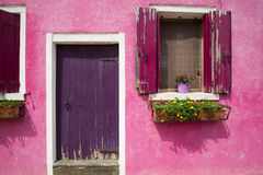 Colourful wall of picturesque house Stock Photos