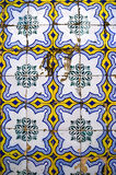 Colourful wall tile design of Lisboa, Portugal. Beautiful and colouful glaced wall tiles - typical for the tile covered houses of Lisboa royalty free stock photo