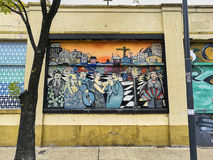 Colourful wallpainting. Colourfull streetart on a brick wall in La Boca, Buenos Aires Stock Photos