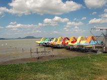 Colourful water bikes on the lake Balaton stock photos