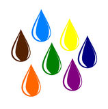Colourful water drops. Royalty Free Stock Images