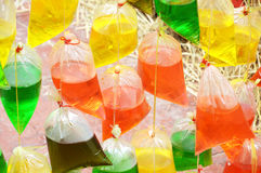Colourful water in plastic bag Royalty Free Stock Image