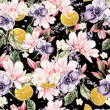 Colourful watercolor pattern with flowers of lavender, magnolia, anemones, and orange fruits. Royalty Free Stock Photo