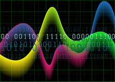 Colourful waves and numbers on black grid background Stock Images