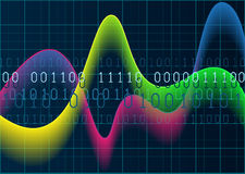Colourful waves and numbers on blue grid background. Vector EPS1. Glowing diagram with colourful waves and numbers on blue grid background. Vector EPS10 stock illustration