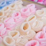 Colourful wee cotton slippers Stock Image