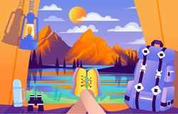 Colourful wektorowa ilustracja camping dla turystów fotografia royalty free