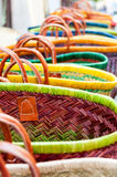 Colourful wicker baskets Royalty Free Stock Images