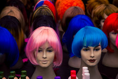 Colourful wigs on a mannequins head Royalty Free Stock Image