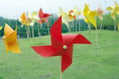 Colourful windmill field Stock Images
