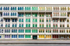 Colourful window shutters of the old building. royalty free stock images