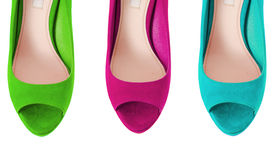 The colourful woman shoes isolated on white Royalty Free Stock Image
