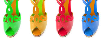 The colourful woman shoes isolated on white Stock Photography