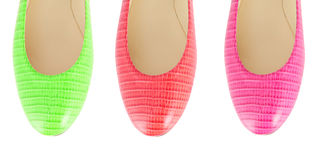 The colourful woman shoes isolated on white Royalty Free Stock Photos
