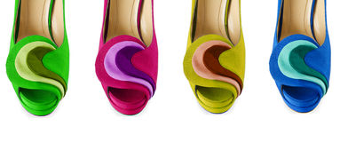 The colourful woman shoes isolated on white Royalty Free Stock Photo