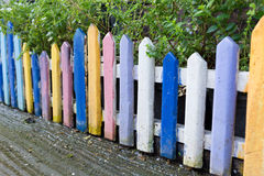 Colourful wood fence in small garden Royalty Free Stock Photo