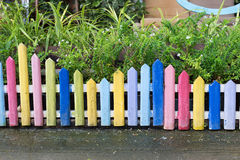 Colourful wood fence in small garden Royalty Free Stock Photos