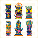 Colourful Wood Polynesian Tiki idols, gods statue carving. Vector illustration Royalty Free Stock Photo