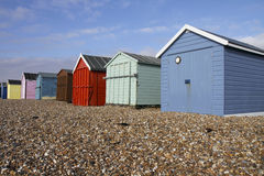 Colourful wooden beach huts on a sunny day on Hayl Stock Photos