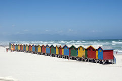 Colourful wooden beach huts Western Cape S Africa Royalty Free Stock Photography